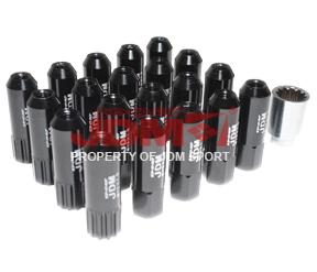 JDM Sport Extended Lug Nuts 12MM X 1.5 Black (16Piece) w/ 4 Piece Lock and Key