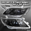 07 08 09 TOYOTA CAMRY LE XLE PROJECTOR HEADLIGHTS BLACK W/ CLEAR REFLECTORS