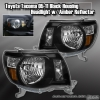 05-2011 TOYOTA TACOMA BLACK HEADLIGHTS WITH AMBER REFLECTOR PLUG & PLAY PAIR