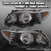 09 10 11 TOYOTA COROLLA JDM CRYSTAL HEADLIGHTS BLACK w/ AMBER REFLECTOR