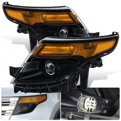 2011-2015 Ford Explorer Black Housing Clear Lens Amber Reflector Projector Headlights