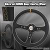 350MM Deep Dish Steering Wheel Black Center w/ Yellow Stitching