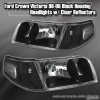 98 99 00 01 02 03 04 05 06 07 08 09 10 FORD CROWN VICTORIA HEADLIGHTS BLACK w/ CLEAR REFLECTORS