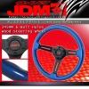JDM SPORT 345MM BLUE WOOD GRAIN W/ STREAK DESIGNED STEERING WHEEL