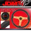 JDM SPORT UNIVERSAL 6 HOLE 345MM DEEP DISH BLACK WOOD GRAIN - GOLD CENTER STEERING WHEEL