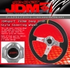 JDM Sport 350mm Deep Dish Steering Wheel Silver Center With Yellow Stitching