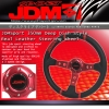 JDM Sport 350mm Deep Dish Leather Steering Wheel Red Center With Black Stitching