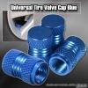 UNIVERSAL ALUMINUM ANODIZED WHEEL VALVE TIRE CAPS BLUE