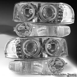 01 02 03 04 05 GMC DENALI HALO PROJECTOR HEADLIGHTS WITH BUMPER LIGHT CHROME