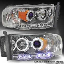 02 03 04 05 06 DODGE RAM DUAL HALO LED PROJECTOR HEADLIGHTS CHROME