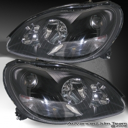 00 01 02 03 04 05 MERCEDES BENZ S-CLASS PROJECTOR HEADLIGHTS BLACK
