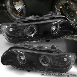01 02 03 BMW X5 E53 HALO PROJECTOR HEADLIGHTS BLACK