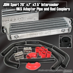 JDM SPORTS UNIVERSAL HKS STYLE TURBO INTERCOOLER BLACK PIPPING KIT RED COUPLERS