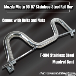 90 91 92 93 94 95 96 97 MAZDA MIATA / 97 98 99 00 01 02 03 MX-5 STAINLESS STEEL ROLL BAR