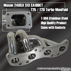 89 90 91 92 93 94 NISSAN 240SX S13 CA18DET STAINLESS STEEL T25/T28 TURBO MANIFOLD