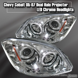 05 06 07 CHEVY COBALT DUAL HALO PROJECTOR LED CHROME HEADLIGHTS