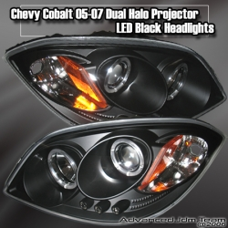 05 06 07 CHEVY COBALT DUAL HALO PROJECTOR LED BLACK HEADLIGHTS