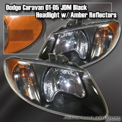01 02 03 04 05 06 07 DODGE CARAVAN JDM HEADLIGHT BLACK W/ AMBER REFLECTOR