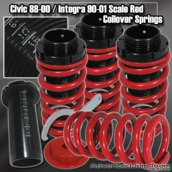 88 89 90 91 92 93 94 95 96 97 98 99 00 HONDA CIVIC JDM ADJUSTABLE COILOVER LOWERING SPRINGS Red W/ SCALE