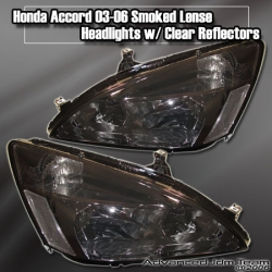 03 04 05 06 HONDA ACCORD JDM HEADLIGHTS SMOKED LENS W/ CLEAR REFLECTOR