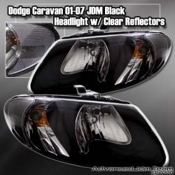 01 02 03 04 05 06 07 DODGE CARAVAN JDM BLACK HOUSING HEADLIGHTS W/ CLEAR REFLECTORS