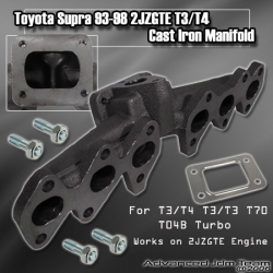 93 94 95 96 97 98 TOYOTA SUPRA 2JZGTE CAST IRON T3/T4 TURBO MANIFOLD