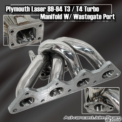 89 90 91 92 93 94  PLYMOUTH LASER TURBO STAINLESS STEEL T3/T4 TURBO MANIFOLD W/ WASTEGATE PORT