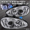 92 93 94 95 96 MAZDA MX3 MX-3 DUAL HALO PROJECTOR CHROME HOUSING HEADLIGHTS W/ LED