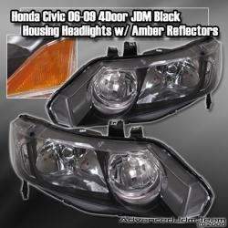 06 07 08 09 HONDA CIVIC 4DR JDM HEADLIGHT BLACK W/ AMBER REFLECTORS