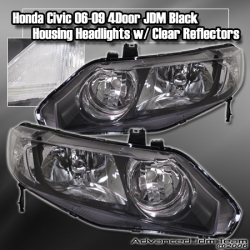 06 07 08 09 HONDA CIVIC 4DR JDM STYLE HEADLIGHT BLACK W/ CLEAR REFLECTORS