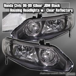 06 07 08 09 HONDA CIVIC 4DR JDM STYLE HEADLIGHT BLACK W/ CLEAR REFLECTORS