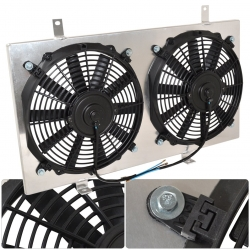 "1984-1994 Nissan 240SX SR20 SR20DET S13 Manual MT Transmisson Aluminum Radiator Dual 12"" Cooling Blade Fan Shroud Cover Kit"