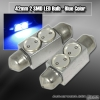 1 Pair of 2 Super Bright 42mm 1W SMD LED Dome Bulb Blue