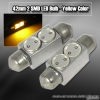 1 Pair of 2 Super Bright 42mm 1W SMD LED Dome Bulb Yellow