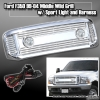 99 00 01 02 03 04 FORD F350 BILLET STYLE GRILLE W/ SPORT LIGHTS AND HARNESS CHROME