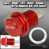 RED ANODIZED MAGNETIC OIL DRAIN PLUG BOLT M14 X 1.5MM THREADED