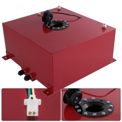 Universal 60 Liter / 15 Gallon Light Weight Red Aluminum Fuel Cell Tank Replacement with Level Gauge Sender Black Cap Track Drag Drift Racing