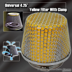 """UNIVERSAL 4.25"""" YELLOW FOAM FILTER WITH CLAMP"""
