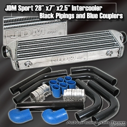 JDM SPORTS UNIVERSAL TURBO INTERCOOLER BLACK PIPPING KIT BLUE COUPLERS