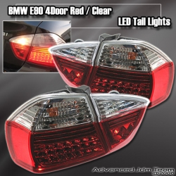 05 06 07 08 BMW E90 3 SERIES 4 DR RED AND CLEAR LED TAIL LIGHTS