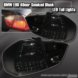 05 06 07 08 BMW E90 3 SERIES 4 DR BLACK LED TAIL LIGHTS