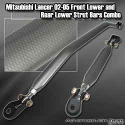 MITSUBISHI LANCER 02 03 04 05 FRONT LOWER AND REAR LOWER CARBON FIBER STYLE STRUT TOWER BAR COMBO