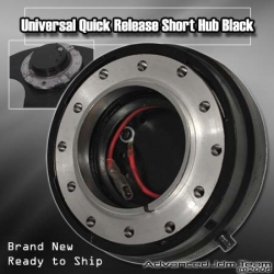 UNIVERSAL QUICK RELEASE STEERING WHEEL ADAPTER SHORT HUB BLACK
