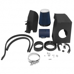 2008-2010 Ford F250 F350 F450 V8 6.4L High Flow Induction Air Intake System + Heat Shield Blue Wrinkle Piping Kit