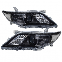 2010-2011 Toyota Camry Front Bumper Projector Headlight Head Lamp Black Housing Clear Lens Reflector Upgrade Assembly Pair Left Right
