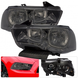 2011-2014 Dodge Charger 1 Piece Style Smoked Lens Headlights With Clear Reflectors