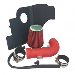 2011-2014 Ford Mustang 5.0L V8 High Flow Induction Air Intake System + Heat Shield + Red Wrinkle Piping Kit