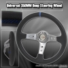 350MM Deep Dish Steering Wheel w/ Chrome Center Blue Stitching