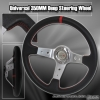 350MM Deep Dish Steering Wheel Chrome Center w/ Red Stitching