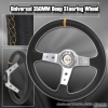 350MM Deep Dish Steering Wheel Chrome Center w/ Yellow Stitching